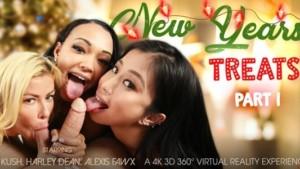 New Year's Treats Part 1 VR Bangers Alexis Fawx Harley Dean Jade Kush vr porn video vrporn.com virtual reality